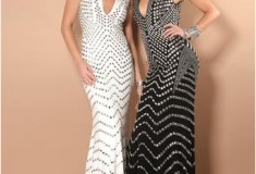 Jovani Prom Dress 6433 white and black halter gown with silver beading