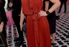 Abbie Cornish in a DVF Pleated Wrap Gown and Flirty Minaudiere Clutch