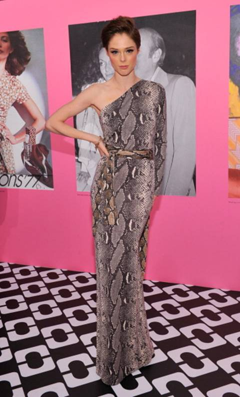 Coco Rocha in a DVF One Shoulder Wrap Dress