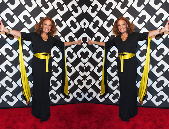 Diane von Furstenberg in a DVF Wrap Dress at the Journey of a Dress Exhibition Opening Celebration