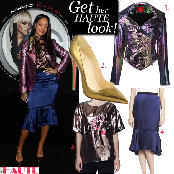 Get her haute look: Rihanna - Vivienne Westwood Red Label metallic jacket, Viva Glam Rihanna lipstick, Lanvin Dream metallic t-shirt in Beige/Bronze, Lanvin ruffled-hem skirt in Royal Blue, Christian Louboutin So Kate Specchio Leather Pumps