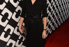 Gia Coppola in a vintage DVF Wrap Dress, Clutch and Heels