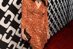 Kate Nash in a vintage DVF Wrap Dress and Lytton Clutch