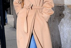 Katie Holmes in a Max Mara camel hair coat
