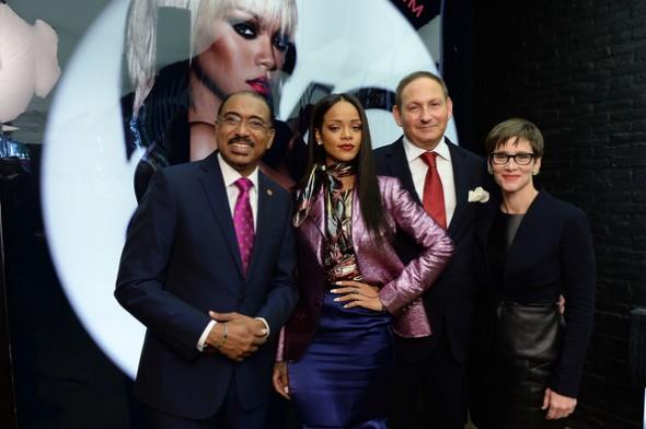 Michel Sidibe, Rihanna, John Dempsey and Nancy Mahon at the MAC Cosmetics Launch of Viva Glam Rihanna at MAC Store Soho