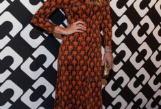Molly Sims in a vintage DVF Dress, Flirty Minaudiere Clutch, and Rowan Heels