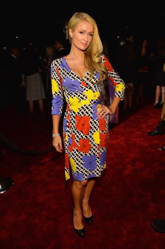 Paris Hilton in a DVF Pop Wrap Dress