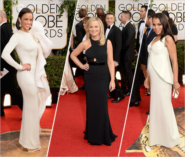 Golden Globes red carpet - Paula Patton, Amy Poehler and Kerry Washington at the 71st Annual Golden Globe Awards