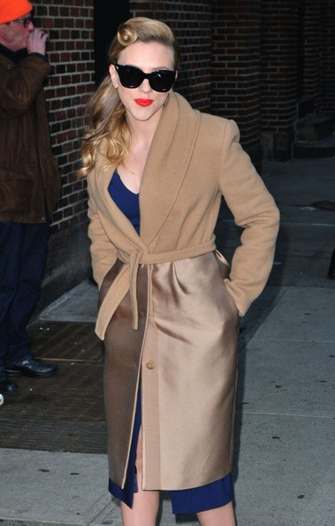 Scarlett Johannson Max Mara Cashmere top belted coat - The Late Show with David Letterman