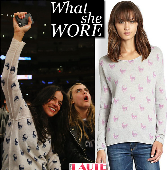What She Wore: Michelle Rodriguez in Skull Cashmere