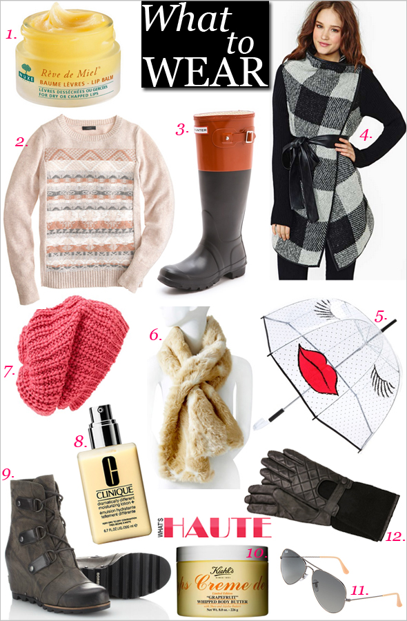 What to wear: 12 Winter weather essentials - Nuxe Paris Rêve de Miel® Ultra-Nourishing Lip Balm, J.Crew Jacquard-Stitch Lambswool Fair Isle Sweater, Hunter Boots Original Colorblock Rain Boots, Nasty Gal Factory Stockholm Plaid Wrap Coat, Felix Rey Kissy Face Umbrella, The Limited Faux Fur Keyhole Scarf, Leith Chunky Knit Slouch Hat, CLINIQUE Dramatically Different Moisturizing Lotion+, SOREL Joan Of Arctic Wedge Mid Boot, Kiehl's Creme de Corps Grapefruit Whipped Body Butter Limited Edition, Ray-Ban 3025 Original Aviator size 58mm, Carolina Amato Leather Knit Moto Gloves