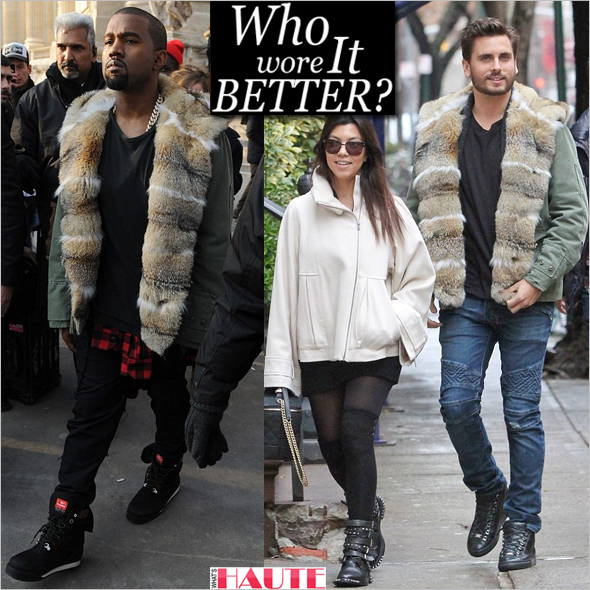 Who wore it better: Kanye West or Scott Disick in an Ermanno Scervino Army Green Fur Hooded jacket