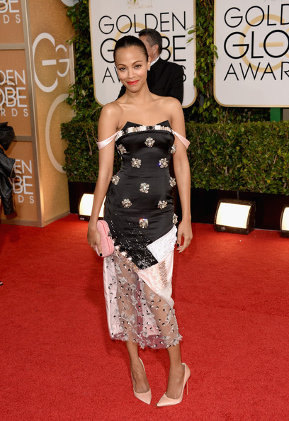 Zoe Saldana at the 71st Annual Golden Globe Awards