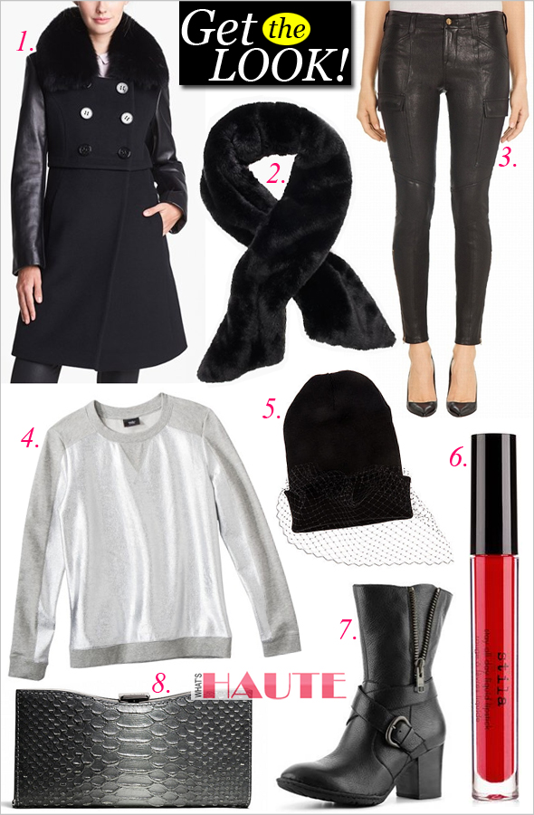 Get the look: Snow Day ft. Elie Tahari 'Maddie' Leather Sleeve Coat with Genuine Fox Fur, Kate Spade In a stitch embellished faux fur shawl, Mossimo Silver Foil Fancy Sweatshirt, J Brand Leather Houlihan Cargo Pants, Coach Madison Frame Clutch In Glitter Python, Born Halen Boots, Stila Stay All Day Liquid Lipstick in Fiery, Harlett Notorious Veil Beanie
