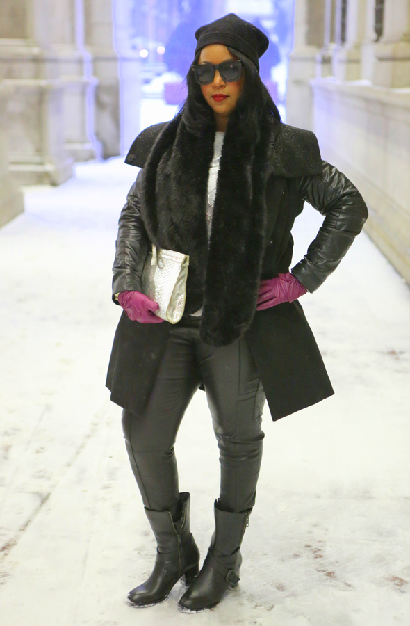 My style: Snow Day ft. Design House Stockholm Pleece Beanie, Lanvin for H&M men's sunglasses, H&M coat with faux leather sleeves, Zara faux fur scarf, Mossimo Silver Foil Fancy Sweatshirt, Tory Burch Adele Stretch Leather Cargo Pants, Onna Ehrlich silver python clutch, Alexandra Bartlett Leather Gloves (c/o TJ Maxx), Born Halen Boots, Stila Stay All Day Liquid Lipstick in Fiery