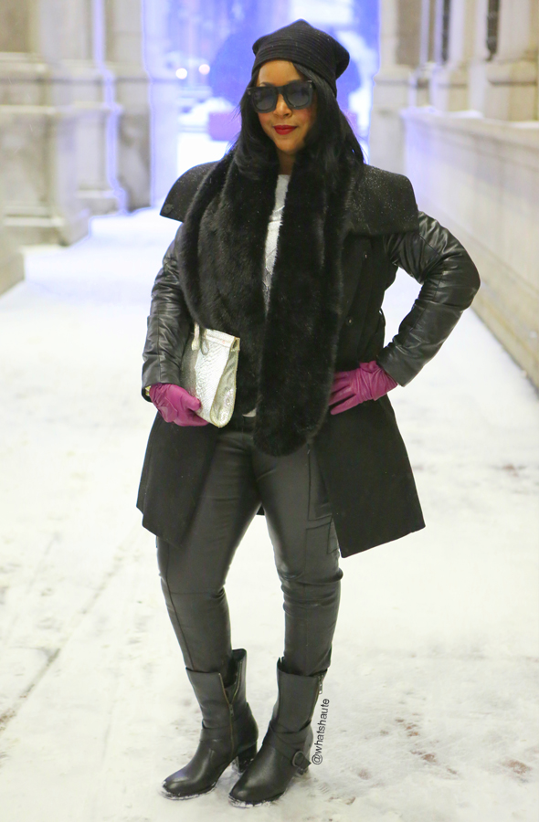 My style: Snow Day ft. Design House Stockholm Pleece Beanie, Lanvin for H&M men's sunglasses, H&M coat with faux leather sleeves, Zara faux fur scarf, Mossimo Silver Foil Fancy Sweatshirt, Tory Burch Adele Stretch Leather Cargo Pants, Onna Ehrlich silver python clutch, Alexandra Bartlett Leather Bow Gloves (c/o TJ Maxx), Born Halen Boots, Stila Stay All Day Liquid Lipstick in Fiery