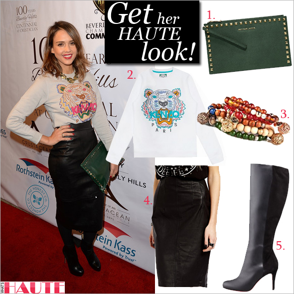 Get her haute look: Jessica Alba - Kenzo Tiger Embroidered Sweatshirt, Lisa Hoffman Beauty Tunisian Neroli Bracelet, MICHAEL Michael Kors Malachite Saffiano Leather Studded Large Selma Clutch Bag, Christian Louboutin Acheval Suede-Back Knee Boot, Black, Mango Leather Pencil Skirt, Celebrity style