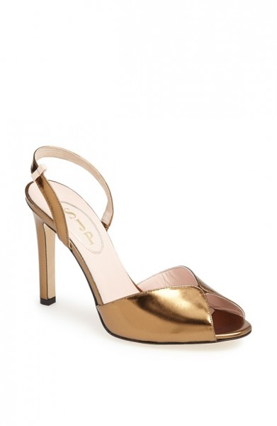 SJP by Sarah Jessica Parker Slim Peep Toe Pump in Bronze Specchio
