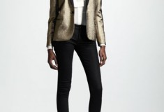 Saint Laurent Metallic One-Button Blazer, Bruno Mars, Super Bowl