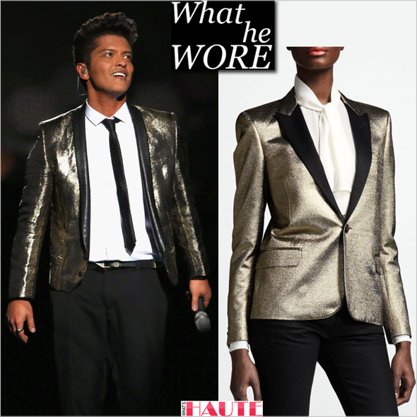 What He Wore Bruno Mars in Saint Laurent custom metallic gold and black leather blazer at the Pepsi Super Bowl XLVIII Halftime Show