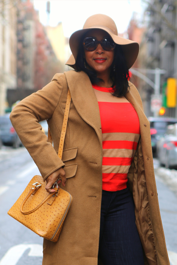 My style: H&M floppy camel hat, Prada Baroque 55mm Round Sunglasses, M·A·C Lipstick in 'Chili', Ellen Tracy Wool Blend Trench Coat, Marc by Marc Jacobs Chinati Sweater via TJ Maxx, Basta Milano Cognac - Embossed bag, Express High-Rise ankle jean legging, Saint Laurent Classic Tribute Two slingback pump in nude patent leather, Street style
