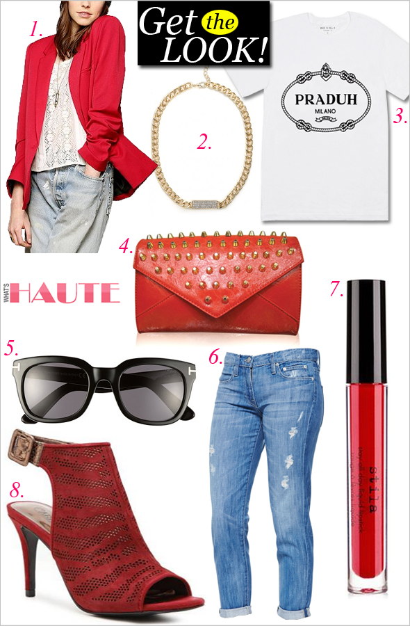 Get the look: Go Red - Silence + Noise Ex-Boyfriend Blazer, Baublebar Gold Pave ID Necklace, Made in Hell-A 'Praduh' T-shirt, Rachel Studded Envelope Clutch, Tom Ford 'Campbell' 53mm Sunglasses, Vince Distressed Jeans, STILA Stay All Day® Liquid Lipstick in 'Fiery', Carlos by Carlos Santana Bannister Sandal