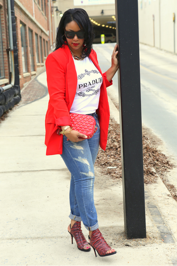 My Style: Go Red for Women - Lanvin for H&M men's sunglasses, Laundry by Shelli Segal red Boyfriend Blazer, Vince Distressed Jeans, Made in Hell-A Praduh T-shirt, Baublebar Gold ID Necklace, Balenciaga Snake-Printed Glove Sandals, Galian Studded Quilted Clutch, STILA Stay All Day Liquid Lipstick in Fiery