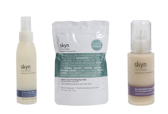 Skyn Iceland: Solutions for Stressed Skin, Arctic Face Mist, The ANTIDOTE Cooling Daily Lotion, Hydro Cool Firming Eye Gels