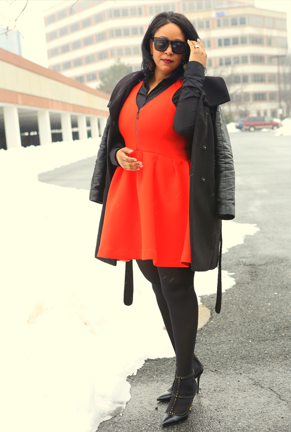 My style: Snow pumpkin - What I'm Wearing: Lanvin for H&M men's sunglasses | H&M coat with faux leather sleeves | Rebecca Minkoff Royce Front-Zip Dress | See By Chloé puff shoulder blouse | 'Taken' necklace | Hanes tights | BCBGMAXAZRIA Liza strappy studded pumps | RiRi Hearts MAC Heaux Lipstick