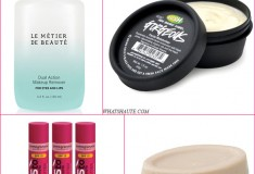 4 Winter beauty products to re-hydrate your skin! Lush Gorgeous Moisturizer, Lush Full of Grace solid moisturizing serum, Yes to Carrots Pomegranate Lip Butter, Le Metier de Beaute Dual-Action Makeup Remover