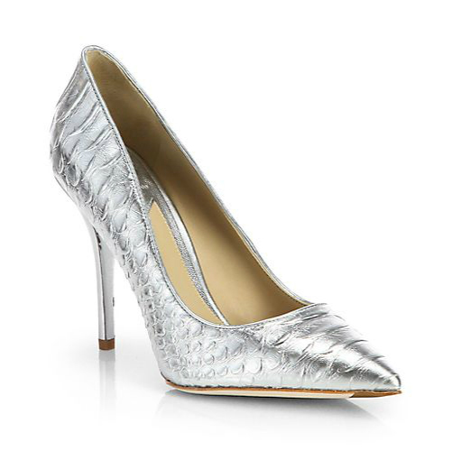 B Brian Atwood Joelle Snake-Embossed Metallic Leather Pumps