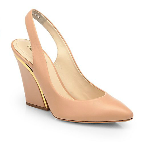 Chloé Leather Wedge Slingback Pumps