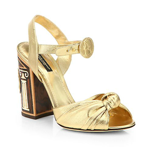 Dolce & Gabbana Metallic Nappa Leather Knot Sandals