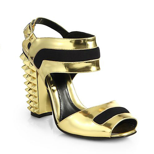 Fendi Polifonia Metallic Leather Studded Heel Sandals