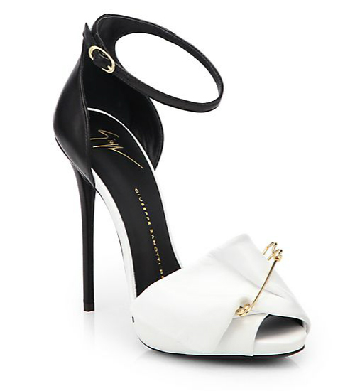 Giuseppe Zanotti Bicolor Leather Safety Pin Pumps