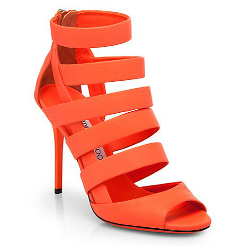 Jimmy Choo Dame Neon Leather Strappy Sandals