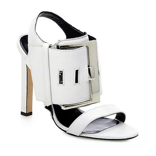 Manolo Blahnik Martagamod Leather Buckle Sandals
