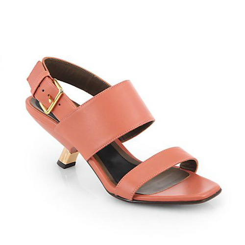 Marni Leather Gold Heel Slingback Sandals