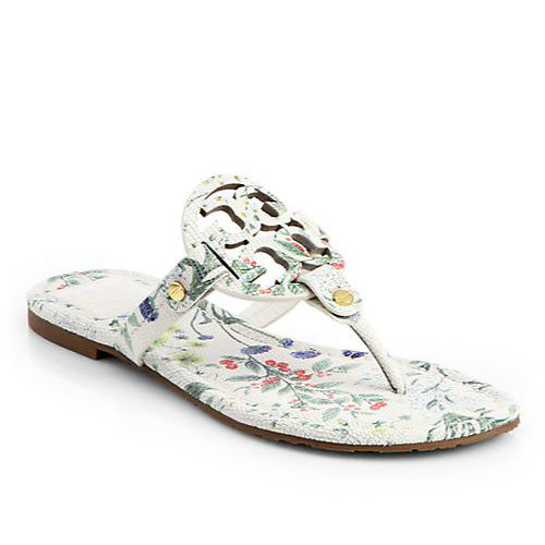 Tory Burch Miller Floral Print Leather Thong Sandals