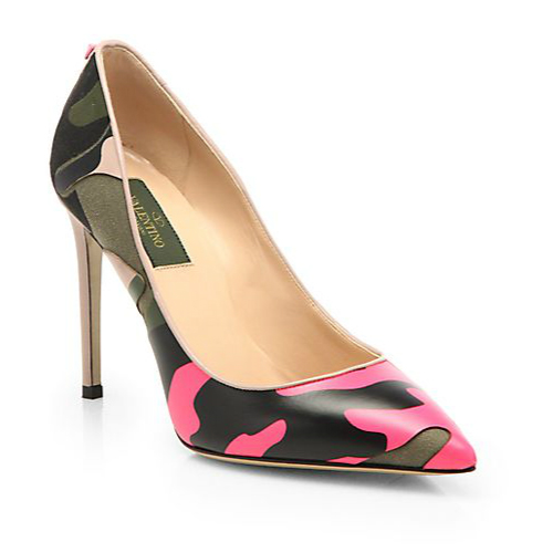Valentino Camouflage Leather & Canvas Pumps