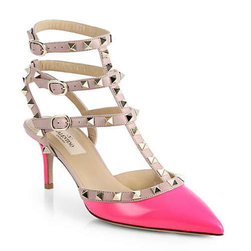 Valentino Rockstud Pink Patent Leather Slingback Pumps