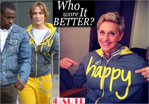 "Who wore it better: Jennifer Lopez vs. Ellen Degeneres in Peace Love World ""I Am Happy"" hoodie sweatshirt"