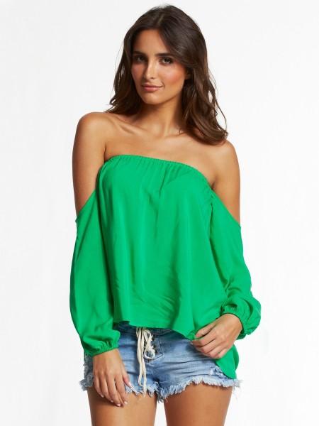 Elan Strapless Off the Shoulder Top in Emerald