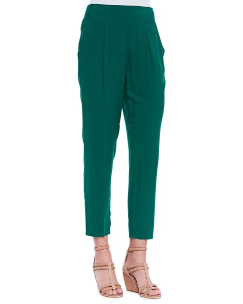 Free People Solid Easy Pleat Pants, Emerald