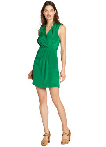 Greylin Emerald Green 'Camila' Silk Crepe Sleeveless Dress