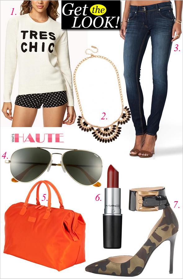 "Get the look: Forever 21 Tres Chic sweater, Baublebar Onyx Bombay Bib necklace, Hudson Collin Skinny Jeans, Randolph Engineering 'Concorde Classic' 57mm Sunglasses, Lipault of Paris 18"" Weekend Satchel, MAC Chili lipstick, Guess Adal camo pumps"