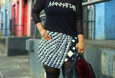 My style: H&M Manhattan shirt, Peter Pilotto for Target print skirt, Alexander Wang Rocco studded duffel bag, Hanes tights, French Connection 'Ellis' Studded Nubuck d'Orsay Pump Winter White, American Needle New York Yankees perforated faux leather snapback hat