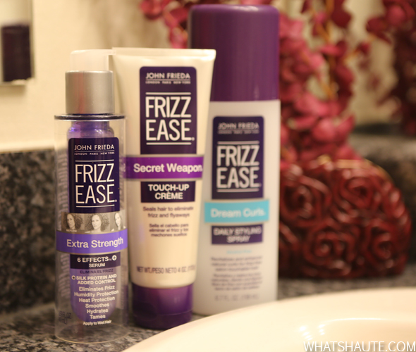Frizz-Ease Extra Strength 6 Effects Serum, Dream Curls® Daily Styling Spray, and Secret Weapon Touch-Up Crème