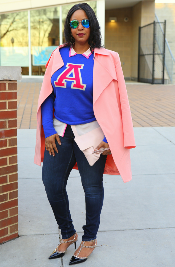 My Style: Varsity blues and pinks - Mural Open Front pink Trench Coat   Halogen® 'Letterman' Sweater in blue   J.Crew pink Silk blouse   Hudson Jeans (c/o)   Forever 21 Mirrored Aviators   Iacucci Clutch (c/o TJ Maxx)   Valentino Rockstud Pump