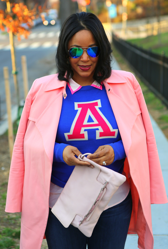 My Style: Varsity blues and pinks - Mural Open Front pink Trench Coat | Halogen® 'Letterman' Sweater in blue | J.Crew pink Silk blouse | Hudson Jeans (c/o) | Forever 21 Mirrored Aviators | Iacucci Clutch (c/o TJ Maxx) | Valentino Rockstud Pump